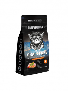 BioFeed EUPHORIA JUNIOR CAT GRAIN FREE CHICKEN & POTATO 2KG bez zbóż, kurczak i bataty